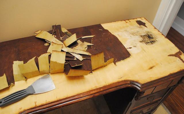 Реставрация стола из деревянного шпона своими руками