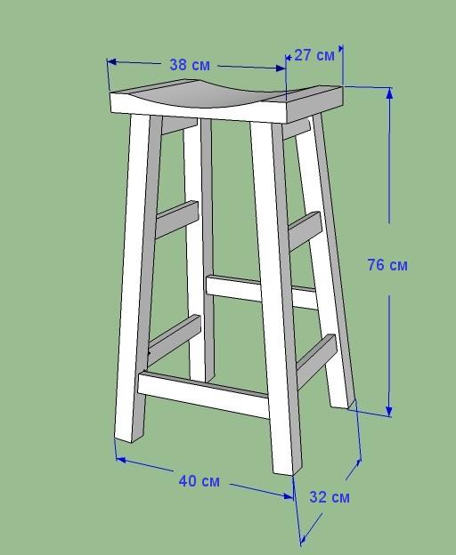 схема строительства барного стула